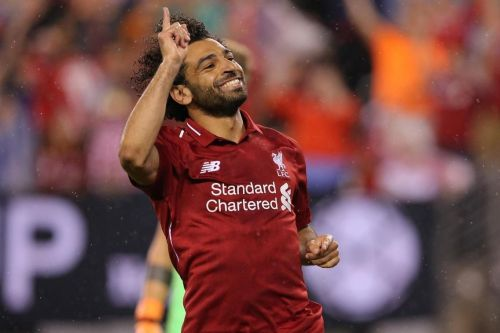 Mohamed Salah celebrating his goal in ICC 2018 against Manchester City