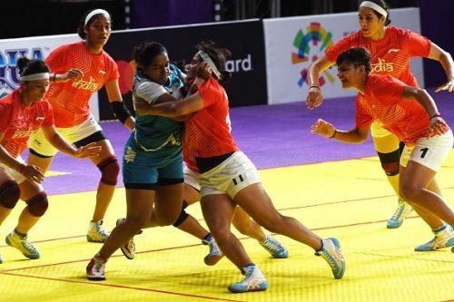 Indian Women's Kabaddi team in action against Sri Lanka