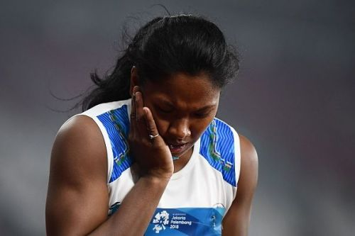 Barman injured her face while competing in Women's Heptathlon
