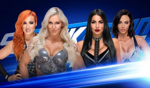 Image result for wwe smackdown becky and charlotte vs iconics