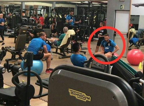 Angel Rangel seen hitting the gym with the Bengaluru FC players in Spain.