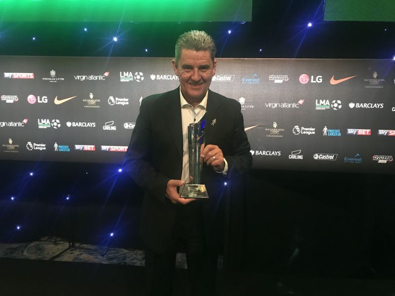 Gregory was recognized at the English League Managers Association awards ceremony for winning the ISL