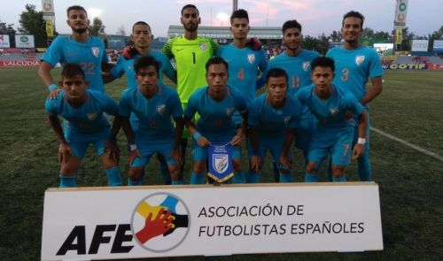 Indian U20 football team taking part in the Cotif Cup