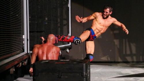 Johnny Gargano hit Tommaso Ciampa with a knee to the face near the end of their main-event