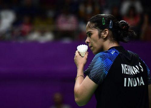 Saina Nehwal gets ready to serve