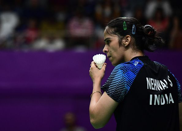 Saina Nehwal gets ready to serve