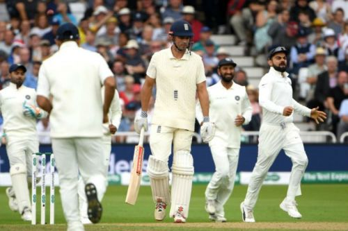 cook's woes against ishant continue