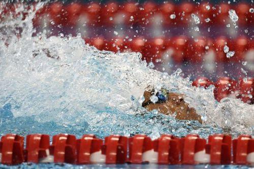 Srihari Nataraj during the 100m Backstroke Heat