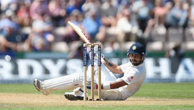 Kohli is falled by a delivery from Chris Woakes