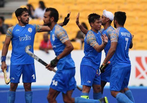 India Men's Hockey team players celebrate a goal