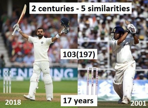 The two centuries scored 17 years apart have quite a few similaritiesEnter caption