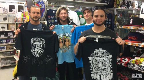 The Young Bucks (right), Kenny Omega (middle) with current NXT star Adam Cole (far left)
