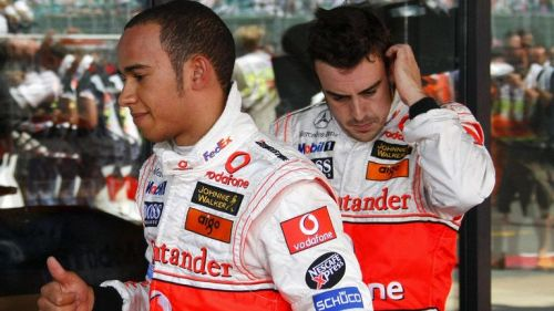 Hamilton and Alonso had a tussle for the Championship
