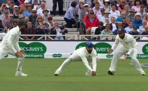 KL Rahul takes a low catch to dismiss Joe Root
