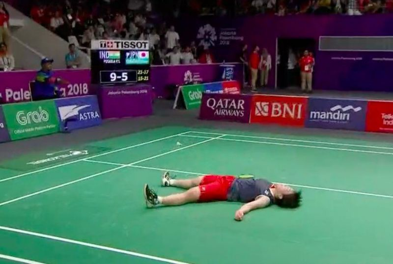 Tired Aakane Yamaguchi after losing a point to Sindhu in one of the longest rally of the match.