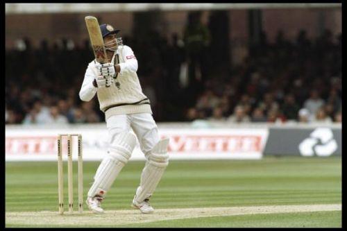 Sourav Ganguly of India batting