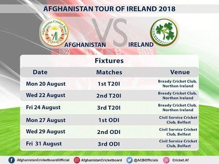 Afghanistan vs Ireland Series 2018 Schedule
