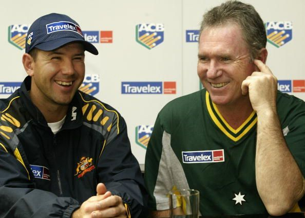 Ricky Ponting and Allan Border