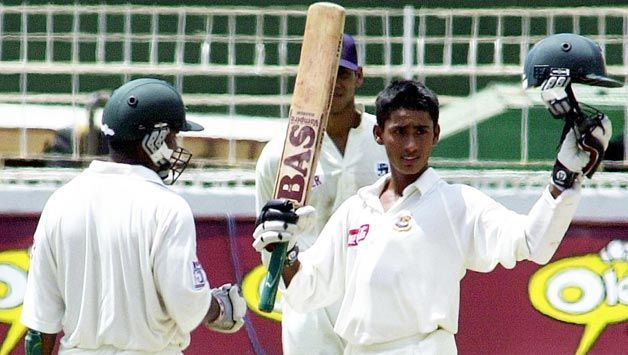 Mohammad Ashraful after hitting in his Test debut at Colombo, 2001