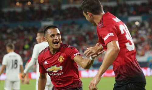 Alexis Sanchez celebrating his goal in recently concluded ICC