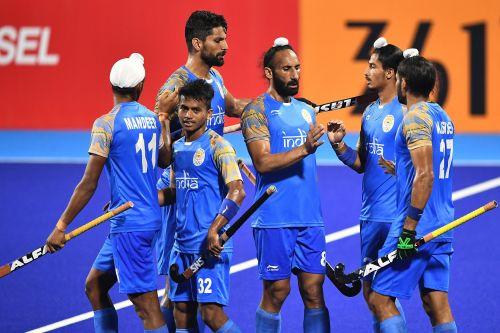 Jubilant Indian players after scoring a goal against Japan