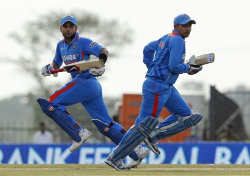 Virat Kohli with Sehwag during a game