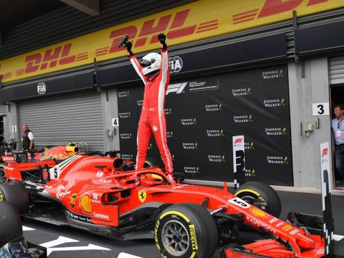Sebastian Vettel celebrates his win