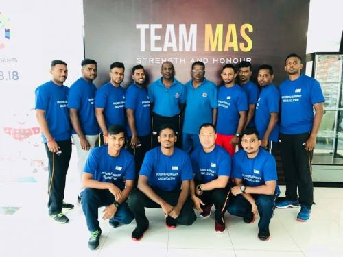 Malaysian Kabaddi Team's pre match photo of Kabaddi Challenge tournament. The event celebrated its 10th anniversary in 2018 held from July 21 to July 24.