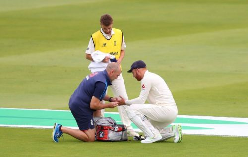 Bairstow's injury being evaluated before taken off-field
