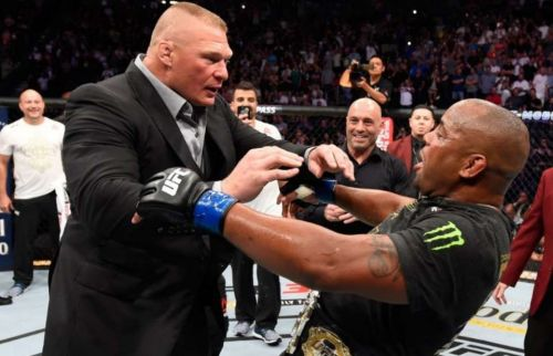 Brock Lesnar (left) is widely regarded as one of the most charismatic MMA and WWE Superstars of all time