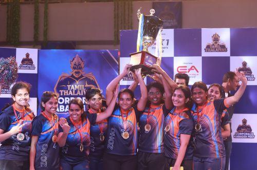 Enter captionZoho Corp wins the women's championship at the Tamil Thalaivas Corporate Kabaddi championship
