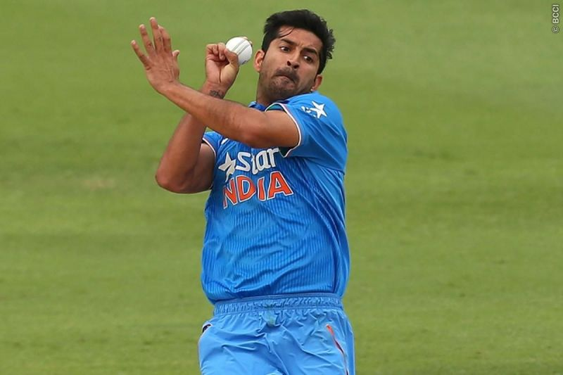 Mohit Sharma bowling in a match