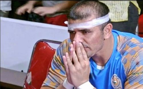 Indian Kabaddi team captain Ajay Thakur about to break into tears during the Iran vs India final at Asiad