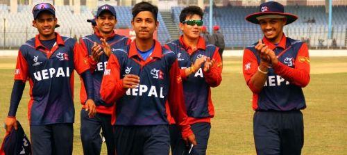 team mates congratules sandeep lamichhane for his ha-trick