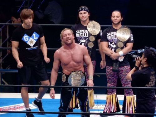 The Golden Elite Celebrating after Omega's IWGP World Title Win.