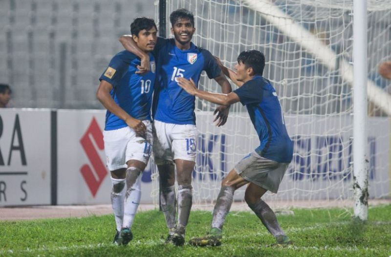 Sumeet Passi (left) celebrates after scoring the 3rd goal for India.