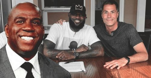 LeBron James during his contract signing with the Los Angeles Lakers