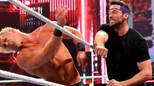 Hugh Jackman delivers a punch to Dolph Ziggler