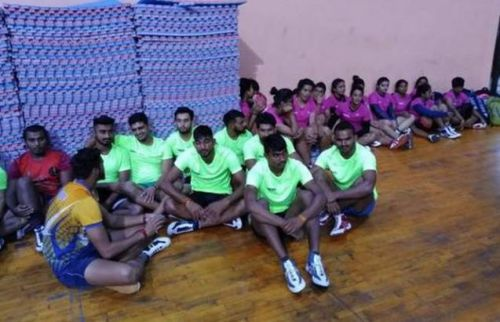 Kabaddi players sit idle at the Indira Gandhi Stadium in New Delhi (Image credit - Vivek Tripathi and Sportstar)