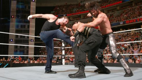 (Image Courtesy: WWE.com) Ambrose vs Reigns vs Rollins at Battleground 2016 for the WWE World Heavyweight Championship