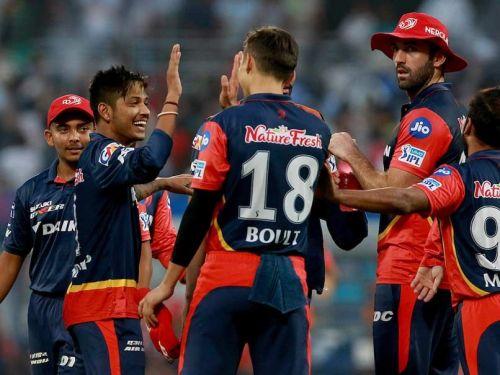 Sandeep celebrates his maiden IPL wicket