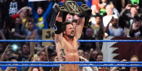 (Courtesy: WWE.com) AJ Styles wins the WWE Championship