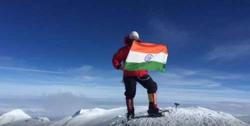 Col. Ranveer with the Indian flag at the summit of Mt. Denali