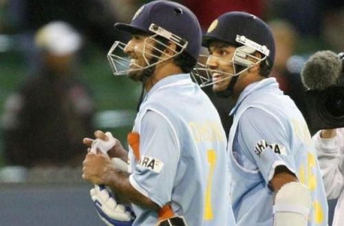 MS Dhoni and Rohit Sharma with a gentle smile after the victory