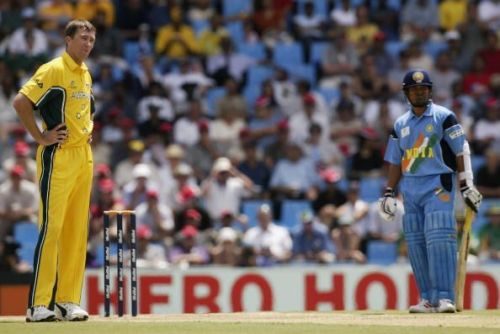 Glenn McGrath of Australia and Sachin Tendulkar of India look on