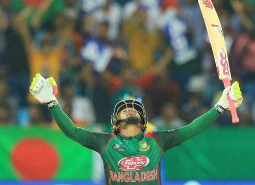 Mushfiqur Rahim is celebrating his century against Sri Lanka at Dubai