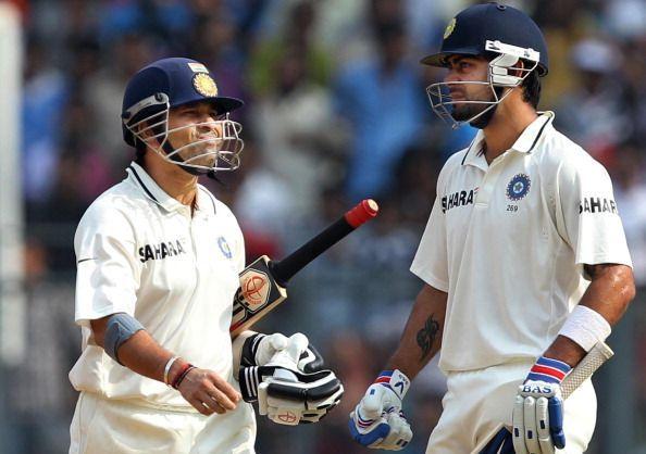 Sachin and Virat during a Test match