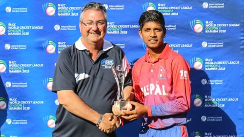Lamichhane with Man of the tournament award in ICC World cricket league div 2