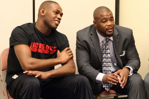 Jon Jones (left) was taken under his wings at Jackson Wink by Rashad Evans (right), however, the duo would later go on to become bitter rivals
