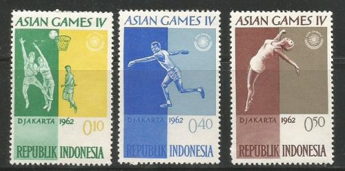 1962 JAKARTA ASIAD -STAMPS OF INDONESIA ON SPORTS- BASKETBALL, DISCUS ,DIVINGcaption